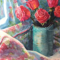 Roses in a Blue Can